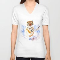 tiger V-neck T-shirts featuring Tiger by Anna Shell