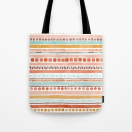 Boho Stripes - Watercolour pattern in rusts, turquoise & mustard. Nursery print Tote Bag