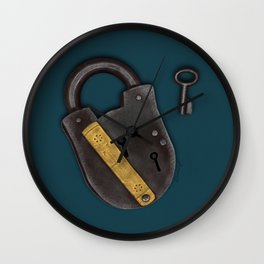 Vintage Padlock and Key on Teal Wall Clock