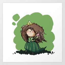 Jade - Curly hair princess Art Print
