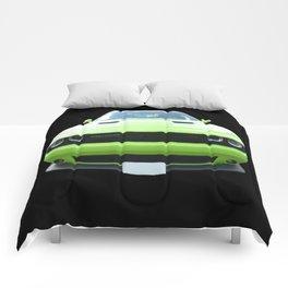 Green Dodge Challenger Comforters