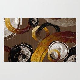 Big Dark Brass Yellow and Brown Rings and Circles Rug