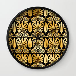 Art Deco 24-Karat Gold Egyptian Elegant Pattern Wall Clock