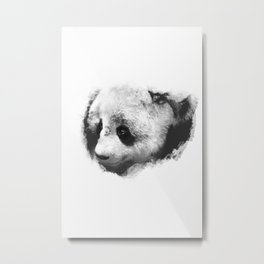 Panda peeking through the Snow Metal Print
