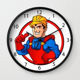 Superhero handyman in circle Wall Clock