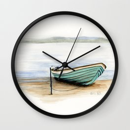 Rowboat, beach, marine, seashore boat Wall Clock