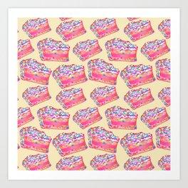Birthday Cake - Yellow BG Art Print