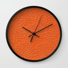 Leather Look Petal Pattern - Flame Color Wall Clock