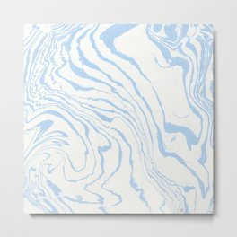 Vintage pastel blue white stylish marble Metal Print