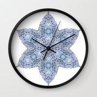 snowflake Wall Clocks featuring Snowflake by Awispa