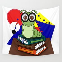 bookworm Wall Tapestries featuring Bookworm 2 by Charles Oliver