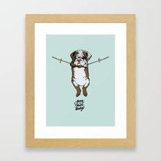 Hang in There Baby English Bulldog Framed Art Print
