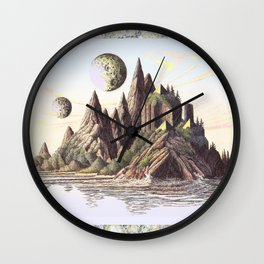 THREE PYRAMIDS, TWO MOONS, ONE ISLAND, VINTAGE PEN AND PENCIL DRAWING Wall Clock