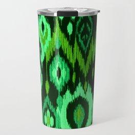 MODERN IKAT TRIBAL PATTERN | green Travel Mug