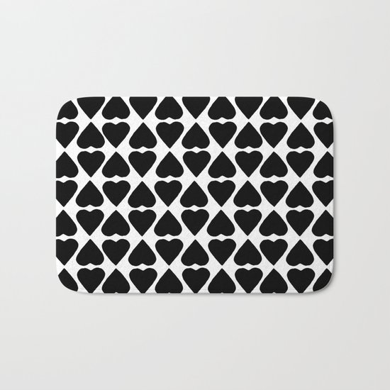 Diamond Hearts Repeat Black Bath Mat