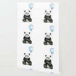 Panda Baby Animal with Blue Balloon Wallpaper