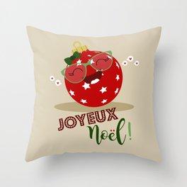 Boule de Noël (rouge) Throw Pillow