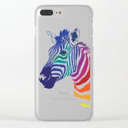 Rainbow Zebra Colorful Animals Whimsical Art Clear iPhone Case