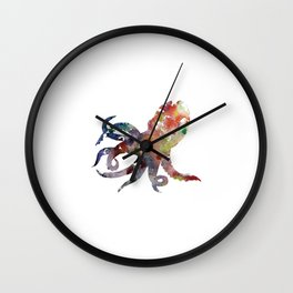 Octopus Print Red and Purple Watercolor Wall Clock