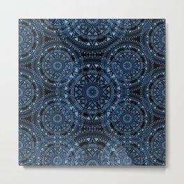 Blue Bohemian Pattern Metal Print