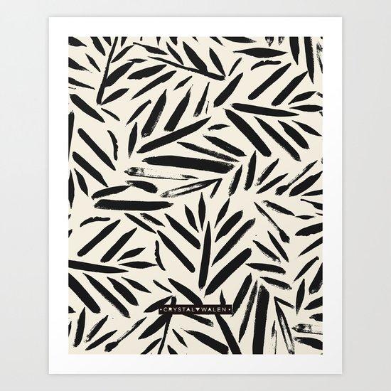 Not So Black and white leaves Art Print