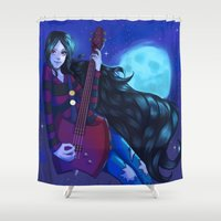marceline Shower Curtains featuring Marceline, the vampire queen by Nillusart