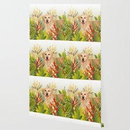 Golden Retriever Dog Garden Wallpaper