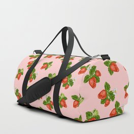 cottage strawberries on pink Duffle Bag