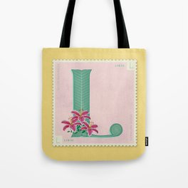 Sellos Naturales. Letter L. Flower: Lilly Tote Bag