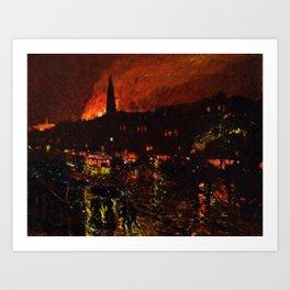 Classical Masterpiece 'Alarm Firelight - Boston' by Frederick Childe Hassam Art Print