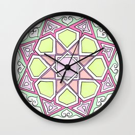 Pink Green Eight Fold Wall Clock