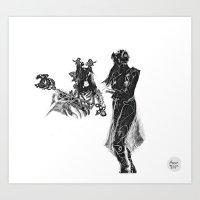outlander Art Prints featuring Outlander Warrior and Maiden Sketch [Defined Tones version] [Digital Figure Illustration] by Grant Wilson