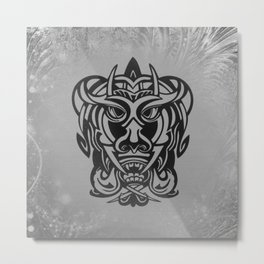 Vicious Tribal Mask silver frosty 007 Metal Print