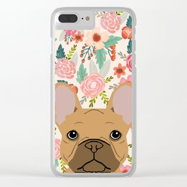 French Bulldog florals portrait dog breed custom pet portraits by pet friendly frenchie Clear iPhone Case