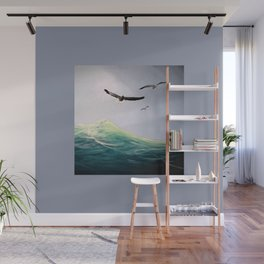 Seaguls Soaring with the Ocean Waves Wall Mural