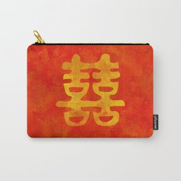 Double Happiness Symbol on red painted texture Carry-All Pouch