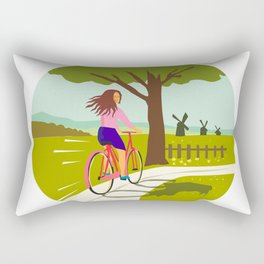 Girl Riding Bicycle Up Tree Circle Retro Rectangular Pillow
