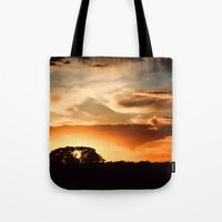 swedish Tote Bags featuring Swedish sunset by Mark W