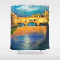florence Shower Curtains featuring Florence by Sara Clarke