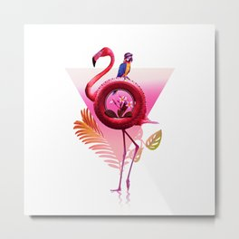 Flamingo Rider Metal Print
