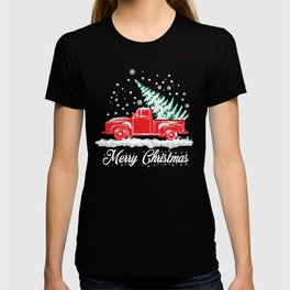 Red Snow Truck and Christmas Tree - Nostalgic Xmas T-shirt