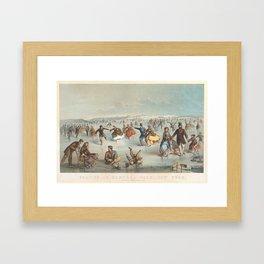 Vintage Central Park Ice Skating Painting (1861) Framed Art Print