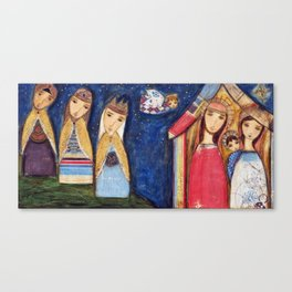 Nativity III with Wise Men by Flor Larios Canvas Print