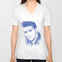 elvis presley V-neck T-shirts featuring Elvis Presley by Chadlonius