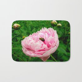 Bumble Bee on a Pink Peony Bath Mat
