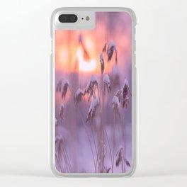 Snowy Reeds Sunset Purple Tone #decor #society6 #homedecor #buyart Clear iPhone Case