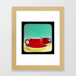Red Coffee Cups Framed Art Print