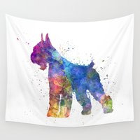 schnauzer Wall Tapestries featuring Giant Schnauzer 01in watercolor by Paulrommer