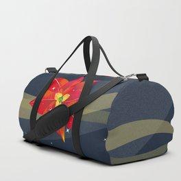 Cool Poinsettia with Blue Night Stars - Holiday Season Duffle Bag