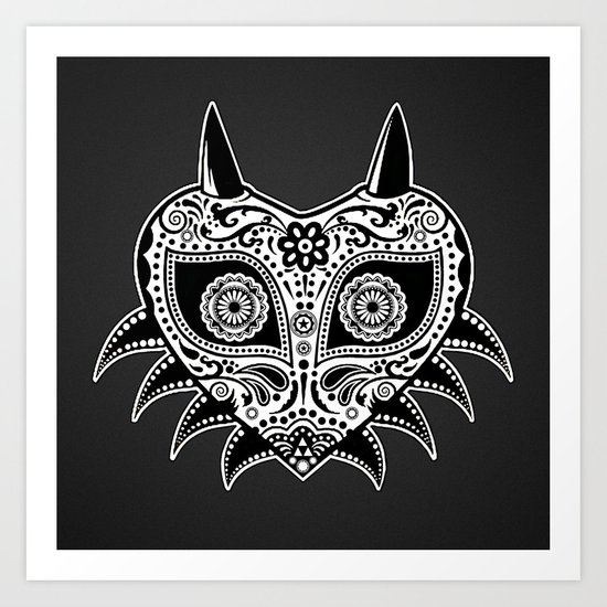 Sugarskull majoras mask blacknwhite art print by jetti society6